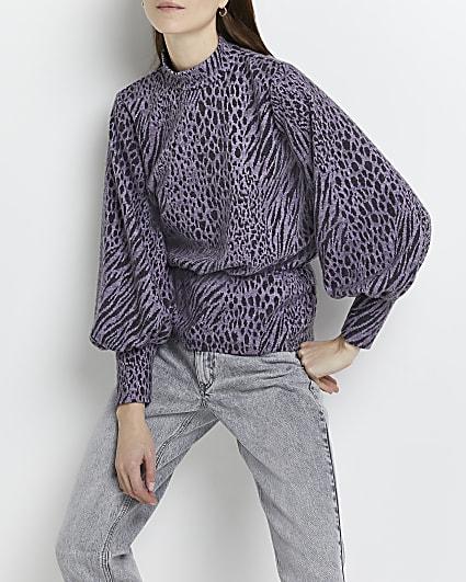 Purple animal print jacquard blouse