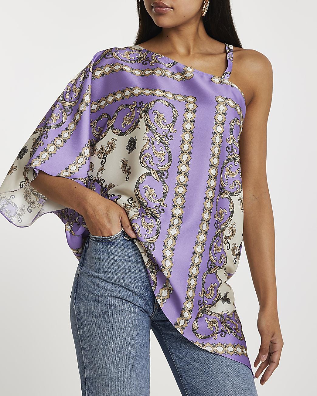 Purple asymmetric one shoulder strap top