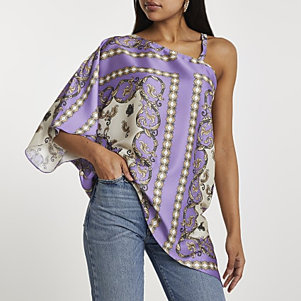 Purple asymmetric one shoulder strap top