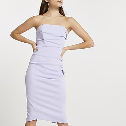 Purple bandeau bodycon midi dress