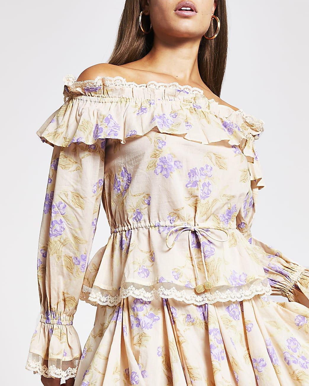 Purple bardot floral printed top