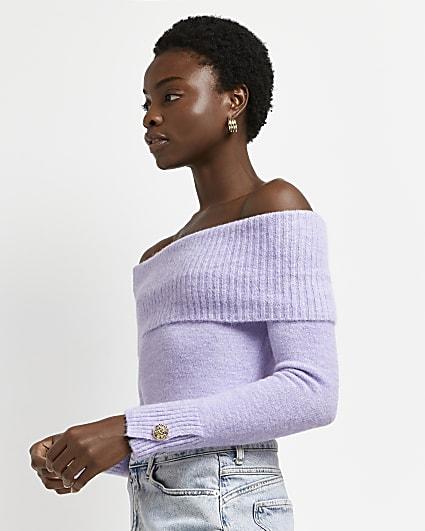 Purple bardot knitted jumper