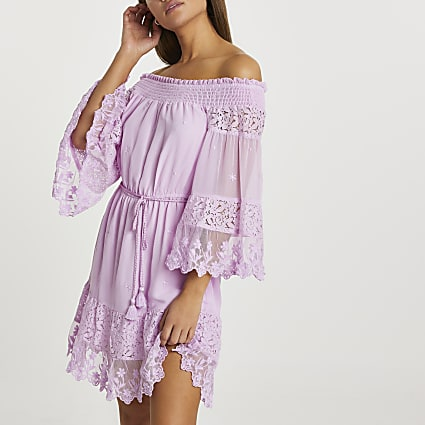 Purple bardot lace beach dress