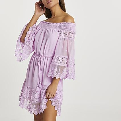 Purple bardot lace beach dress