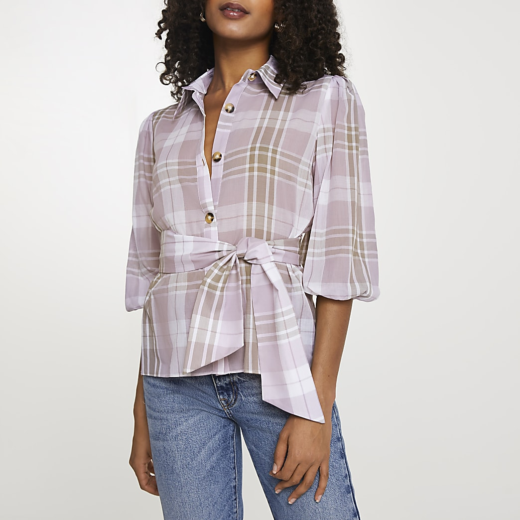 Purple belted check shirt
