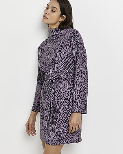 Purple belted jacquard mini dress