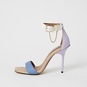 Paarse minimalistische sandalen met kleurvlakken en hak