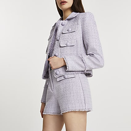 Purple boucle long sleeve jacket
