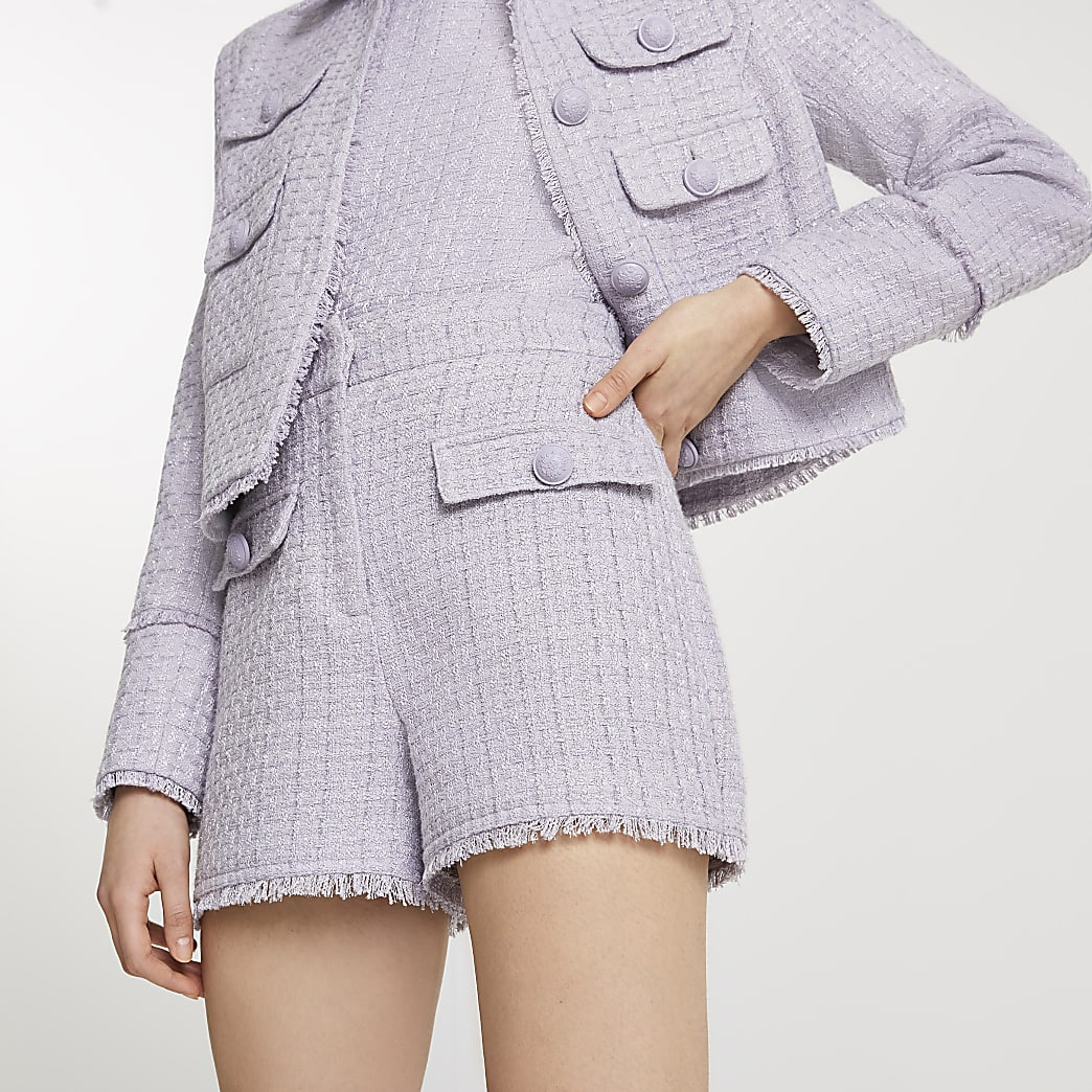 Purple boucle shorts