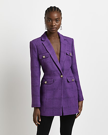 Purple boucle tailored blazer