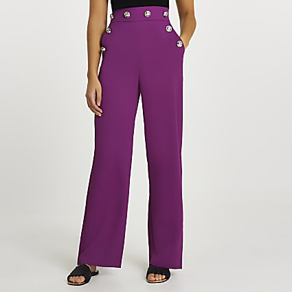 Purple buttoned waistband wide leg trousers