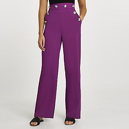 Purple buttoned waistband wide leg trousers
