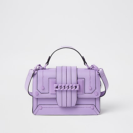 Purple chain front cross body satchel bag