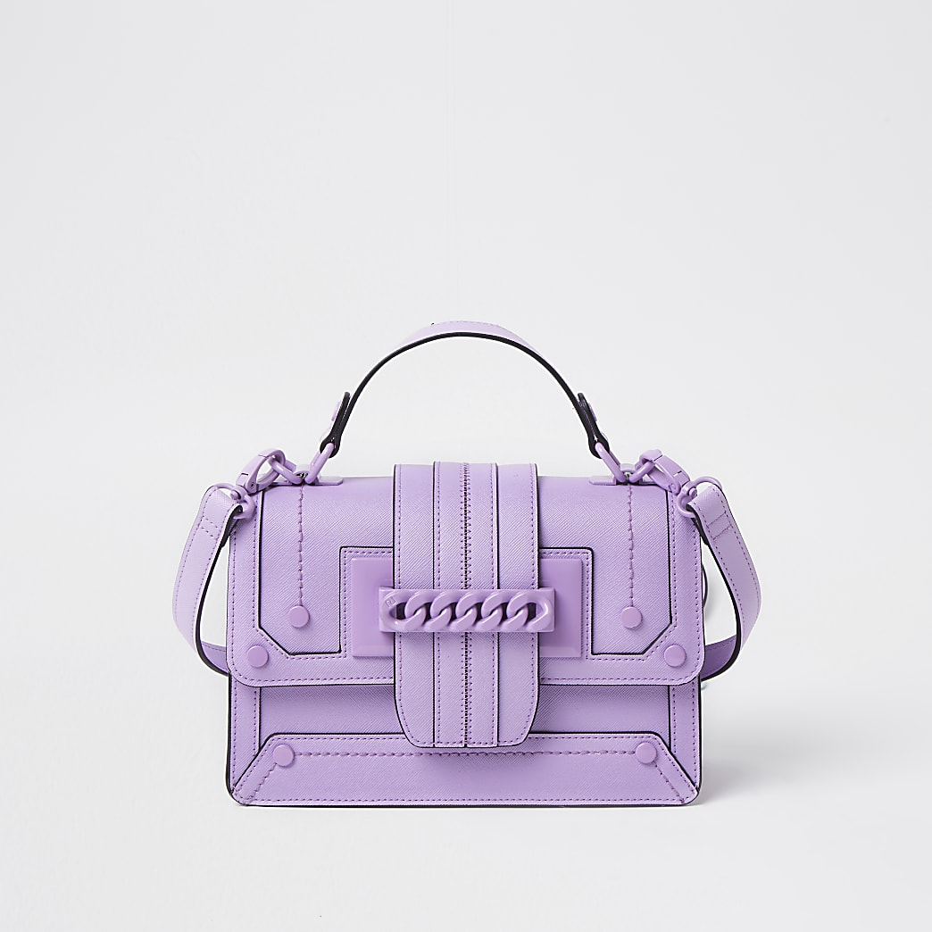Purple chain front cross body satchel bag