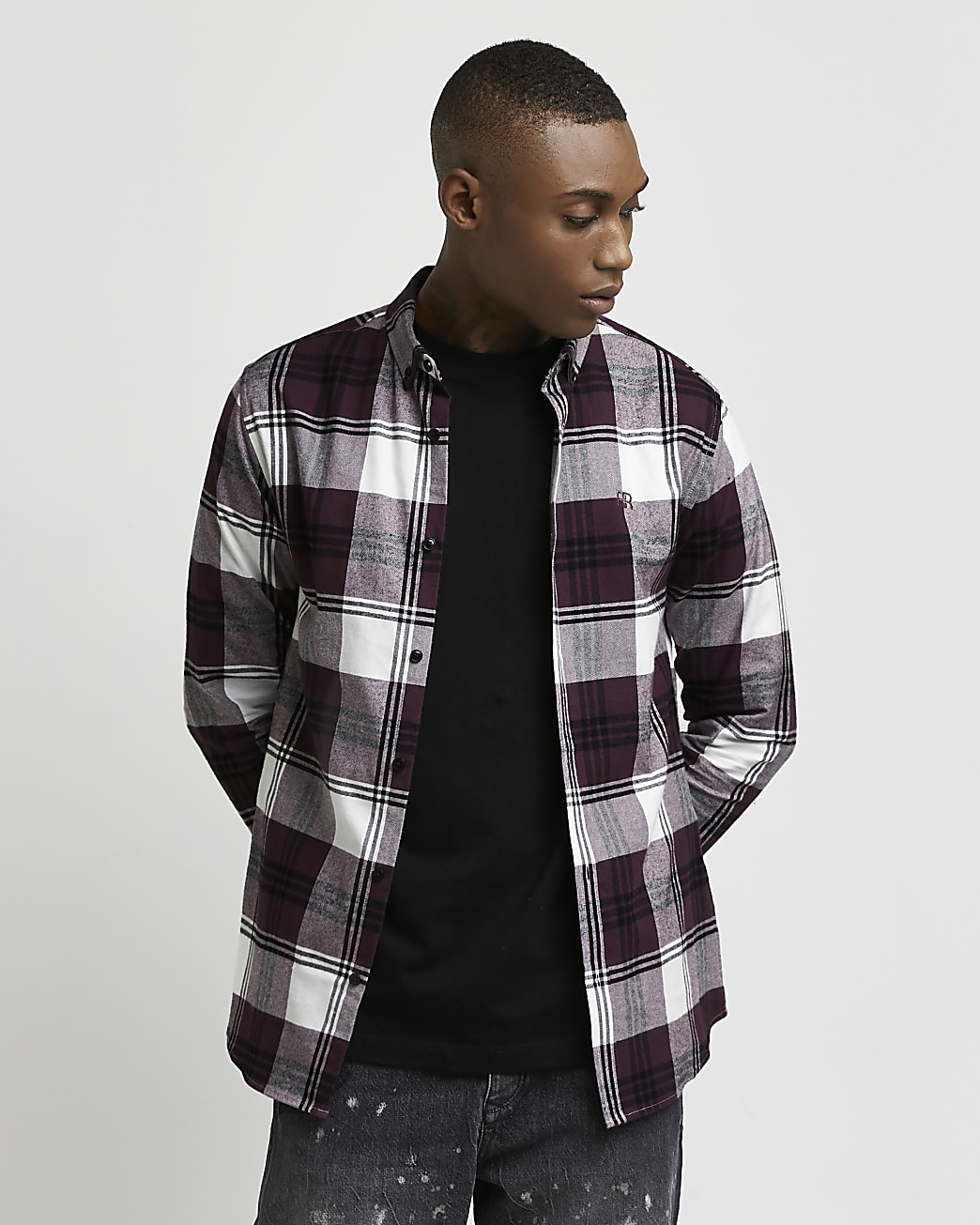 Purple check muscle fit long sleeve shirt