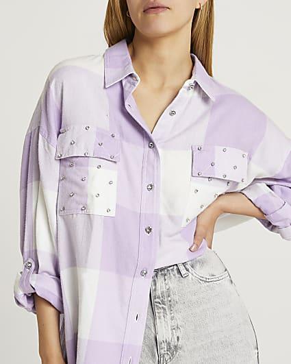 Purple check oversized shirt