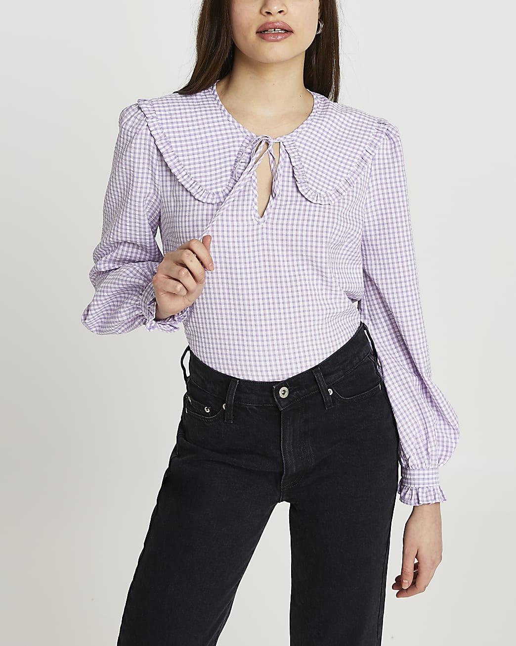 Purple check print collar blouse top