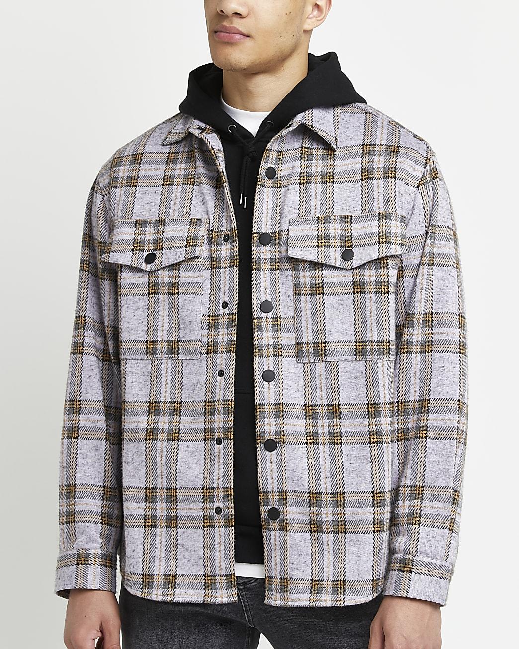 Purple check print oversized fit shirt