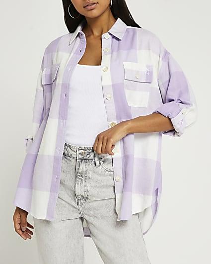 Purple check print oversized shirt