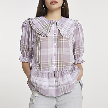Purple check print tiered hem shirt