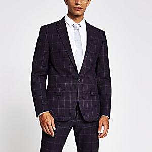 Purple check skinny fit suit jacket