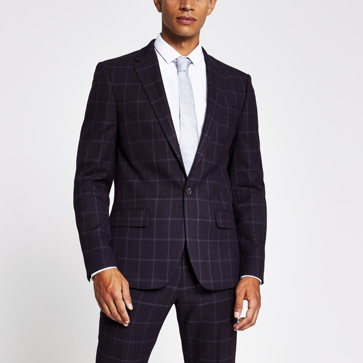 Purple check skinny fit suit jacket