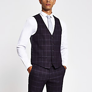 Purple check skinny fit suit waistcoat