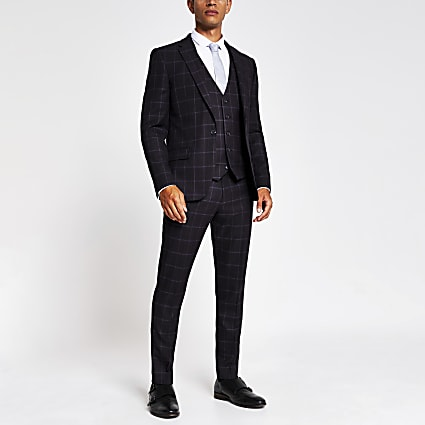 Purple check skinny suit trousers