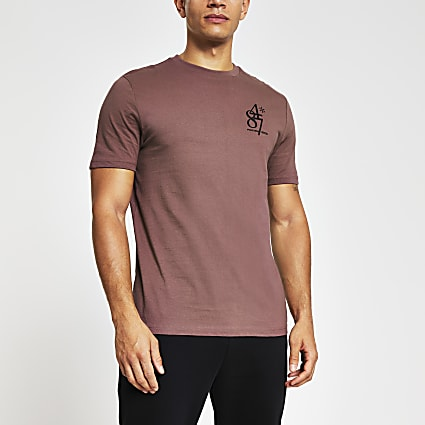Purple chest print slim fit T-shirt