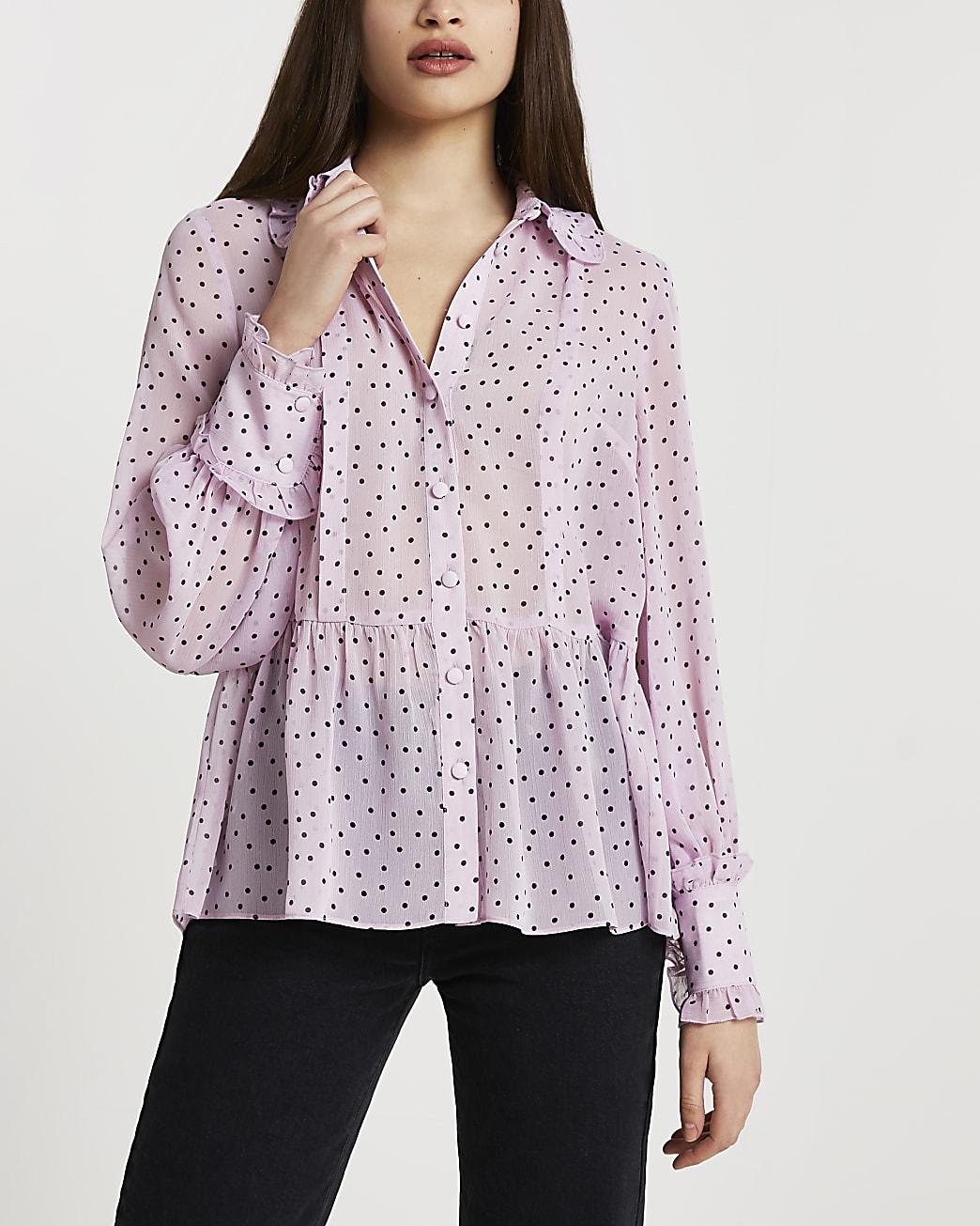 Purple chiffon collar shirt