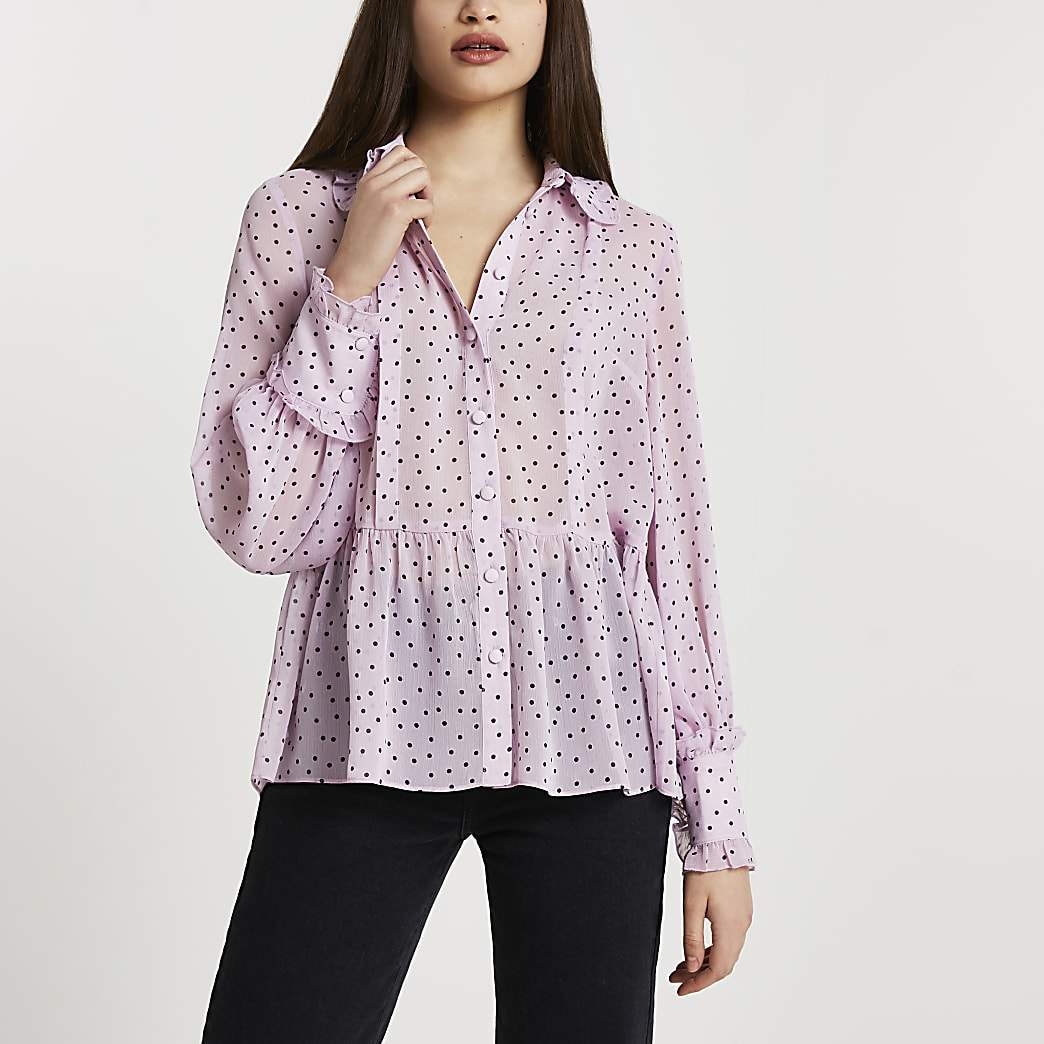Purple chiffon collar shirt