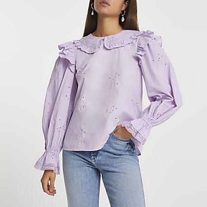Purple collared blouse