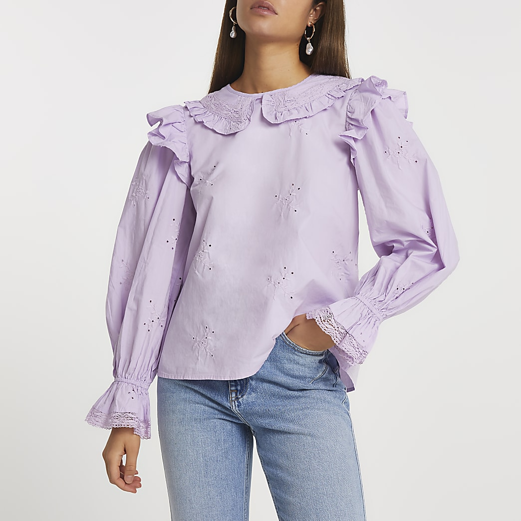 Purple collared blouse