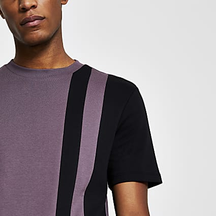 Purple colour block slim fit t-shirt