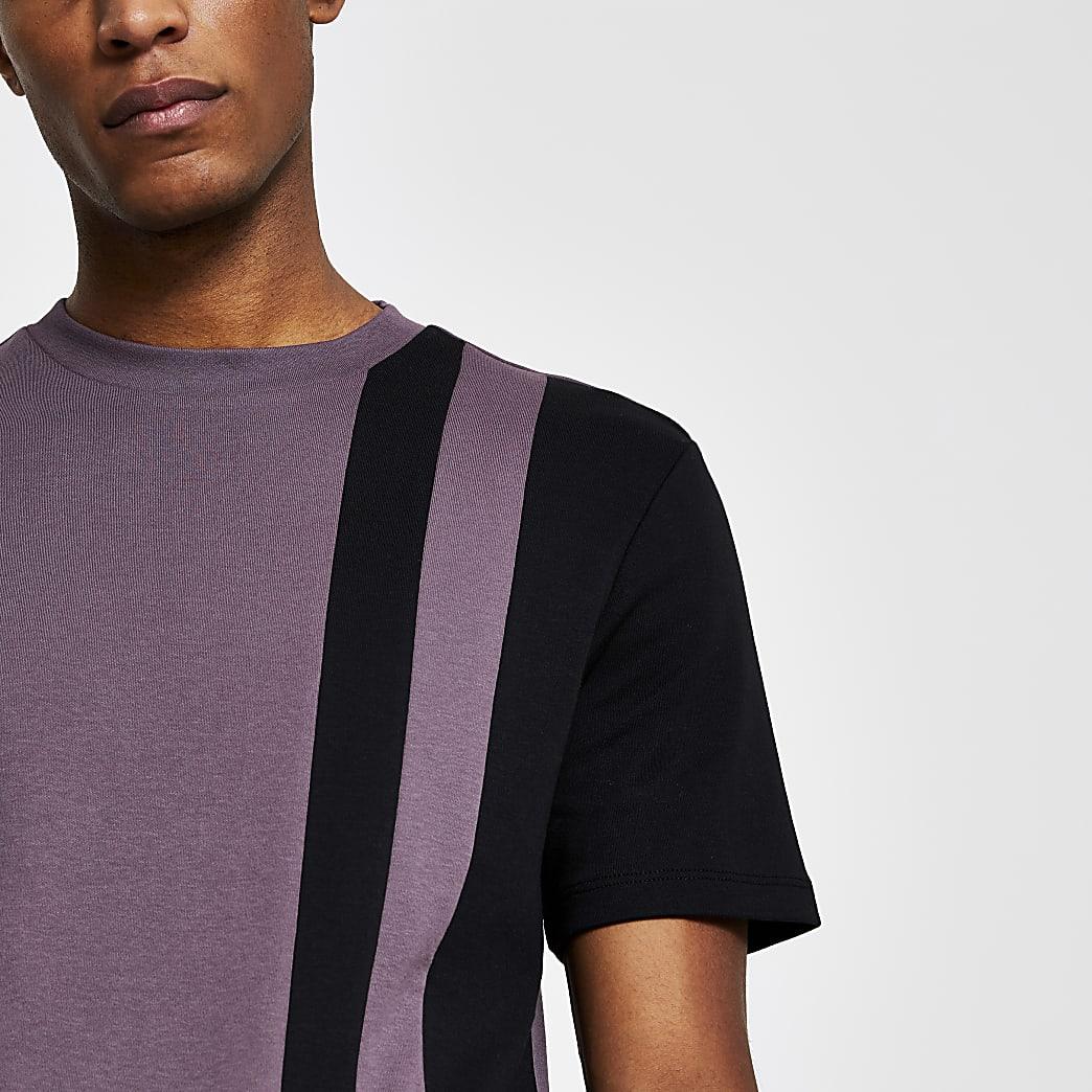 Purple colour block slim fit t-shirt
