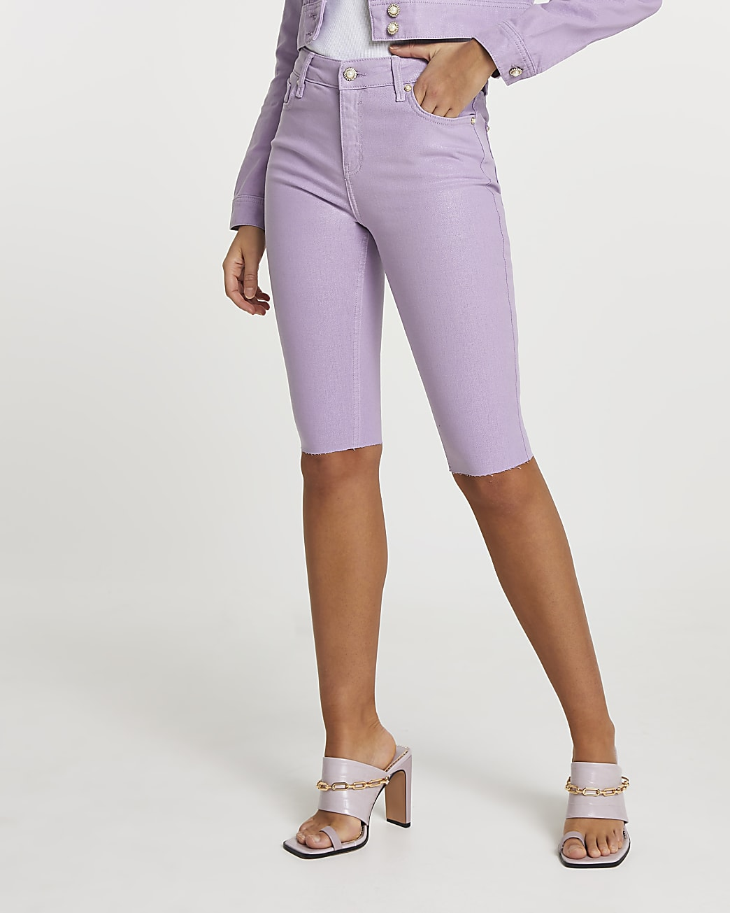 Purple denim cycling shorts