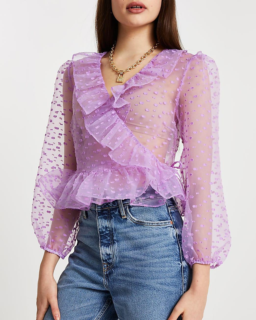 Purple dotty wrap top