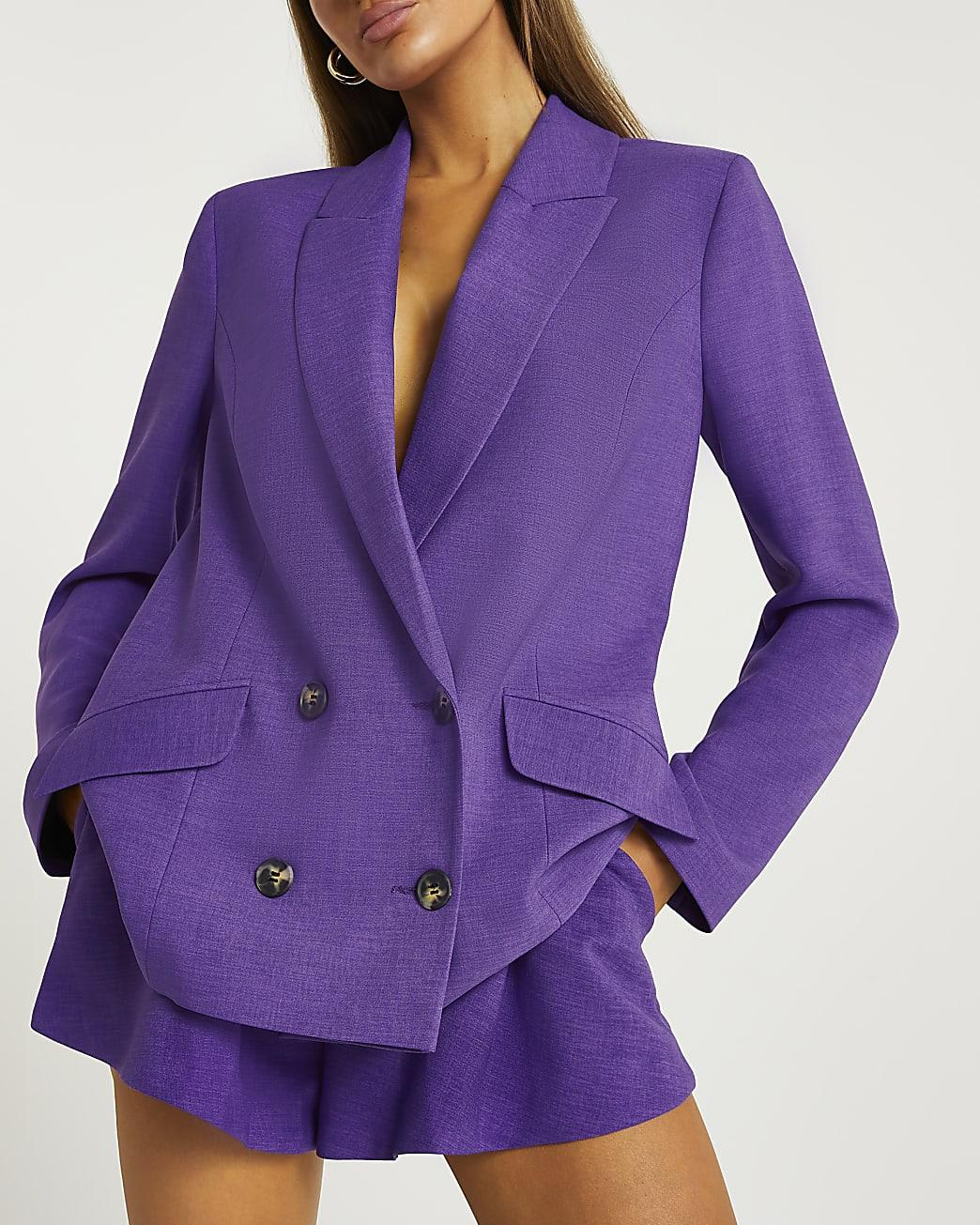 Purple double breasted oversized blazer