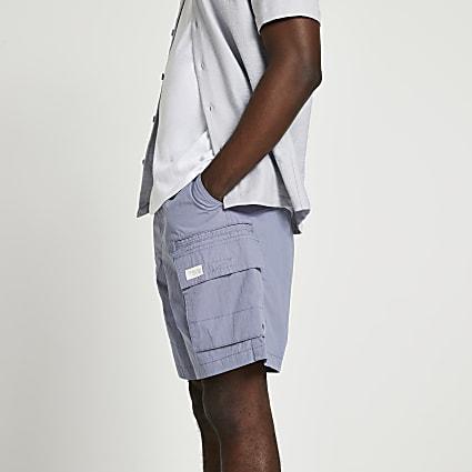 Purple elasticated waist shorts
