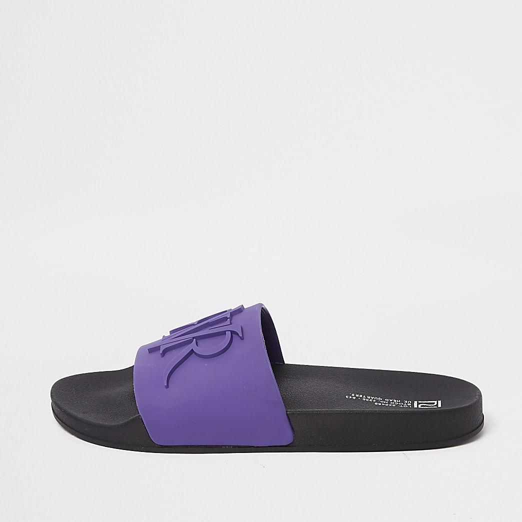 Purple embossed 'RVR' sliders