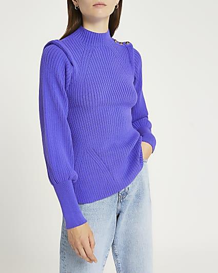 Purple extended shoulder knit jumper