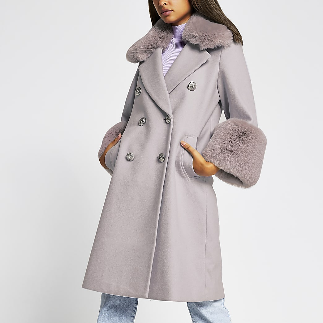 Purple faux fur cuff swing coat