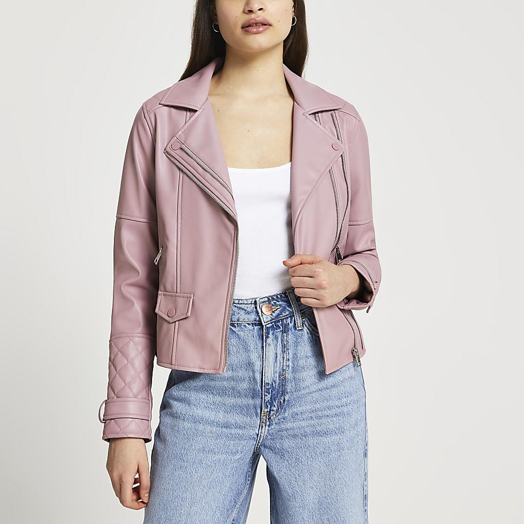 Purple faux leather double zip biker jacket