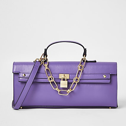 Purple faux leather padlock handbag