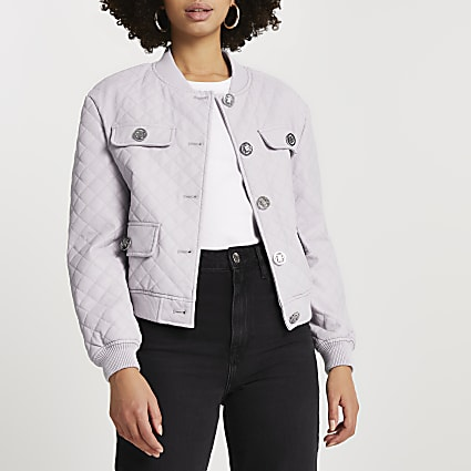 Purple faux leather quilted bomber jacket