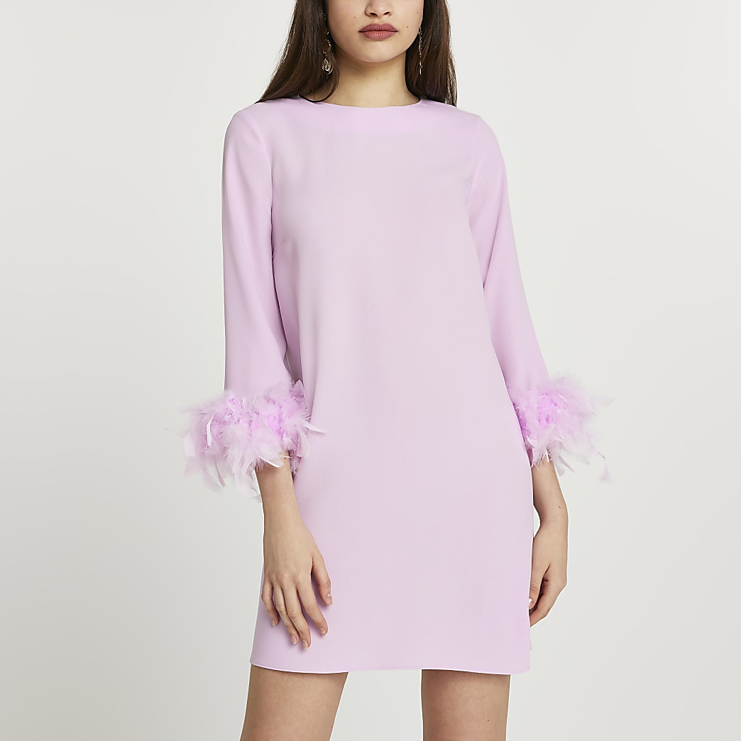 Purple feather sleeve shift mini dress