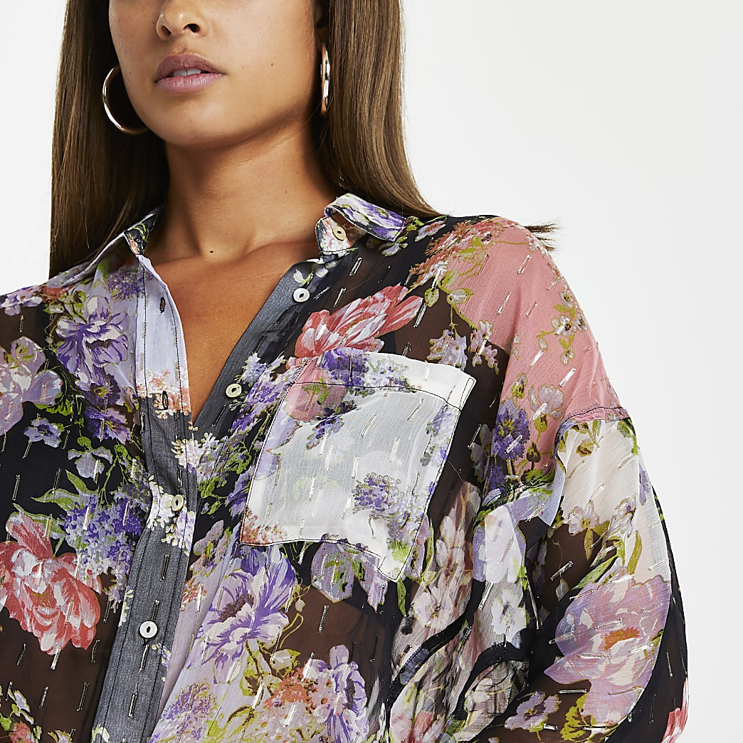 Purple floral dipped hem shirt