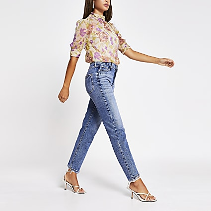 Purple floral embellished high neck top