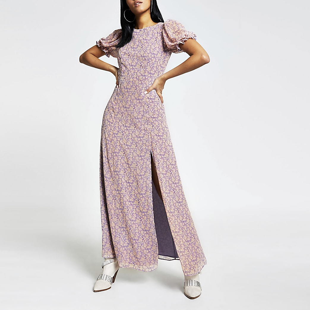 Robe mi-longue dos nu à fleurs violette