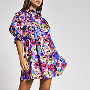 Purple floral pleated mini shirt dress